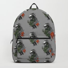 Military Fighter Jet Pilot Ejection Seat Cartoon Illustration Backpack
