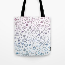 Cute & Sweet Monsters / Funny Clouds and Diamonds Tote Bag