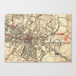 Vintage Map of Charlottesville Virginia (1949) Canvas Print