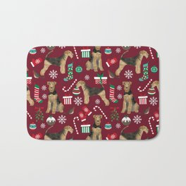 Airedale Terrier Christmas dog print dog pattern airedale pillow airedale phone case Bath Mat