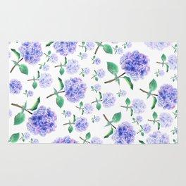 purple blue hydrangea pattern Rug