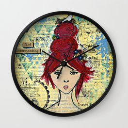 Mixed media art: Find Understanding.  Wall Clock