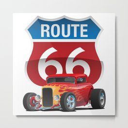 Route 66 Sign with Classic American Red Hotrod Metal Print