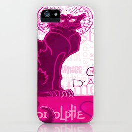 Le Chat D'Amour In Pink With Words of Love Vector iPhone Case