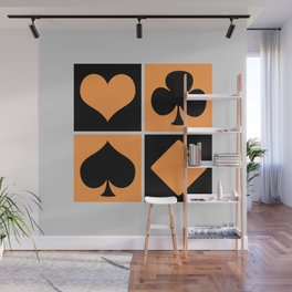 Cards series - Black and orange Wall Mural