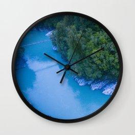 george river blue lake vertical view bridge new zealand Wall Clock