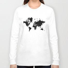 Minimalist World Map Black on White Background Long Sleeve T-shirt