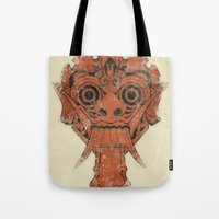 majoras mask Tote Bags featuring Mask by Guilherme Rosa // Velvia