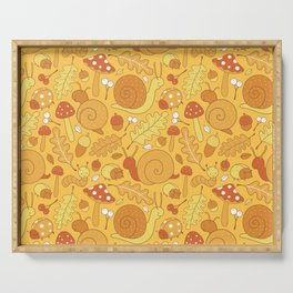 Cute Snails and Mushroom Fall Pattern Serving Tray
