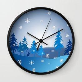 Blue christmas snow scene Wall Clock