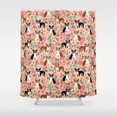 Boston Terrier cute floral pattern spring summer happy pet portrait dog person gift must haves dogs Shower Curtain
