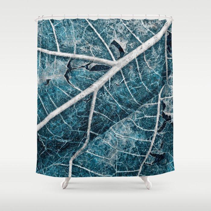 Frozen Winter Leaf Shower Curtain By Somadjinn