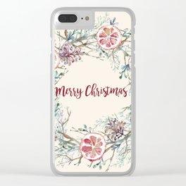 Xmas Wreath Clear iPhone Case
