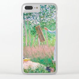 Claude Monet - In the Woods at Giverny, Blanche Hoschedé at Her Easel with Suzanne Hoschedé Reading Clear iPhone Case