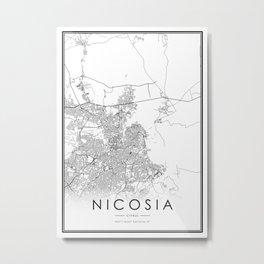 Nicosia City Map Cyprus White and Black Metal Print