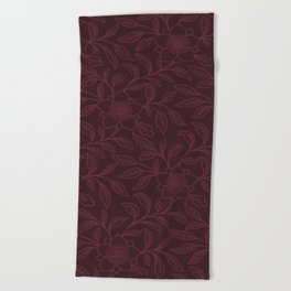 Tawny Port Lace Floral Beach Towel