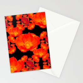 PATTERNED ORANGE POPPIES on WHITE Stationery Cards