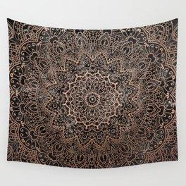 Mandala - rose gold and black marble 3 Wall Tapestry