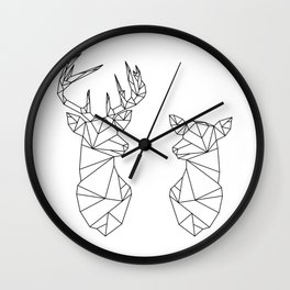 Geometric Stag and Doe (Black on White) Wall Clock