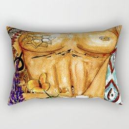 The Things You Find in Nature - Watercolor Paiting of Earth Goddess Rectangular Pillow