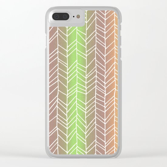 Colorful Rainbow Feather Pattern Clear iPhone Case