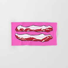 Pink Bacon Strips Hand & Bath Towel