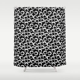 Googly eye pattern – black Shower Curtain