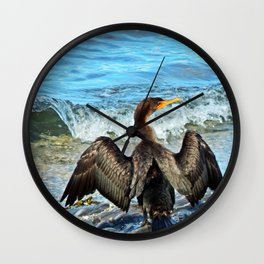 Cormorant Dries off in front of the Sea Wall Clock