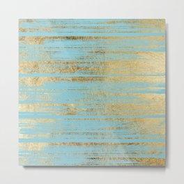 Chic Gold Brushstrokes on Island Paradise Blue Metal Print