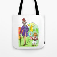 willy wonka Tote Bags featuring Pure Imagination: Willy Wonka & Oompa Loompa by Michael Richey White by lost robot
