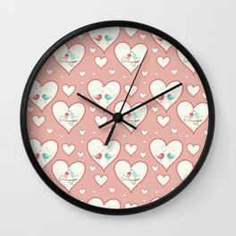 Vintage chic pastel pink romantic love birds hearts pattern Wall Clock