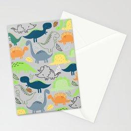 Dinosaur doodle light grey background Stationery Cards