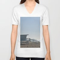 santa monica V-neck T-shirts featuring Santa Monica Beach by Danny T
