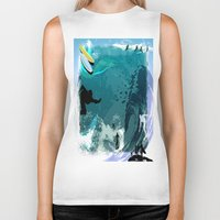 surfing Biker Tanks featuring Surfing by Robin Curtiss