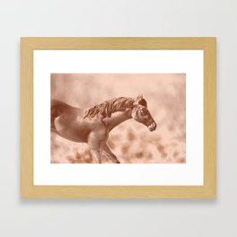 Horse Running Through an Old Picture Framed Art Print