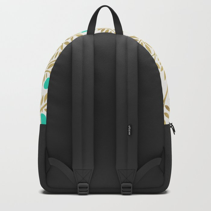 Gold & Turquoise Olive Branches Backpack