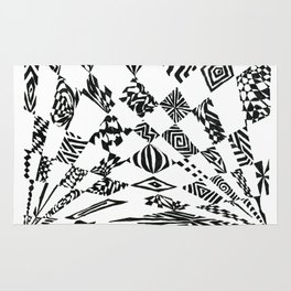 Spotlights, Black/White Abstract (Ink Drawing) Rug