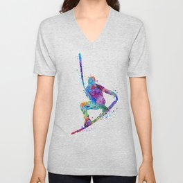Wakeboarding Boy Watercolor Art Watersports Gift Wakeboarder Gift Unisex V-Neck