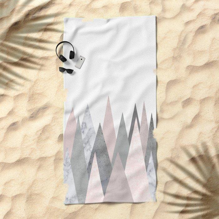 BLUSH MARBLE GRAY GEOMETRIC MOUNTAINS Beach Towel