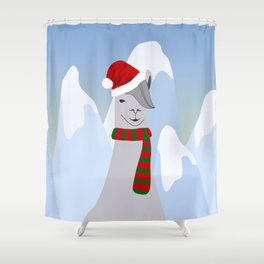 Hipster Santa Llama Shower Curtain