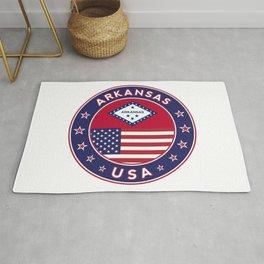 Arkansas, Arkansas t-shirt, Arkansas sticker, circle, Arkansas flag, white bg Rug