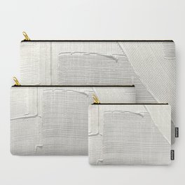 Relief [2]: an abstract, textured piece in white by Alyssa Hamilton Art Carry-All Pouch