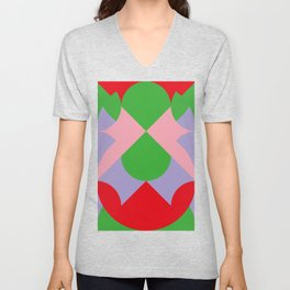 An upside down Pink Butterfly in a green, red and blue beautiful landscape. Green Sun. Unisex V-Neck