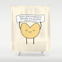 cookie Shower Curtains featuring fortune cookie by kim vervuurt