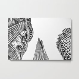 pyramid building and modern building and vintage style building at San Francisco, USA in black and w Metal Print