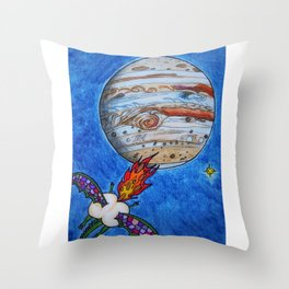 Butt Dragon In Space Throw Pillow