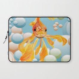Vermillion Goldfish Blowing Bubbles Laptop Sleeve