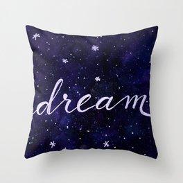 Watercolor galaxy dream - dark blue Throw Pillow