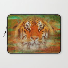 Tiger head on painted texture Laptop Sleeve