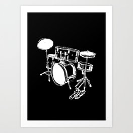 Drum Kit Rock Black White Art Print